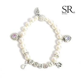 Braut Armband versilbert ivory 5 Wunschanhänger