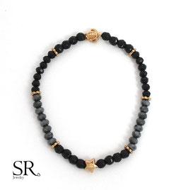 Armband elastisch rosévergoldet schwarz-anthrazit Schildkröte Stern