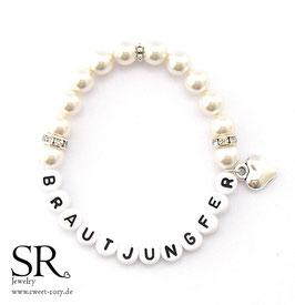 Armband Brautjungfer Kunststoff ivory Herz