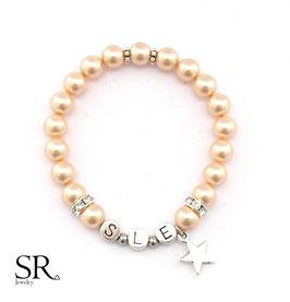 Armband Initialbuchstaben versilbert apricot Stern