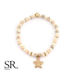 Armband Natursteinperlen Glasperlen rosévergoldet Stern-Seestern apricot-rosé