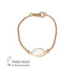 Armband Kristallglas oval rosévergoldet