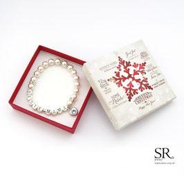 Armband Beste*Mama versilbert ivory Glitzerherz hellblau + Weihnachtsgeschenkbox