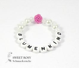 Blumenkind Armband weiß pink