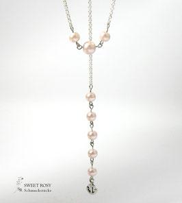 Kette mit Rückenkette versilbert Glaswachsperlen rosé Anker