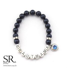 Armband Brautmama versilbert dunkelblau Glitzerherz königsblau