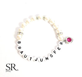 Armband Brautjungfer ivory Glitzerherz pink