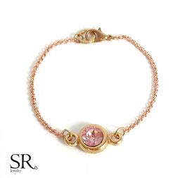 Armband Kristallglasstein rosévergoldet rosé