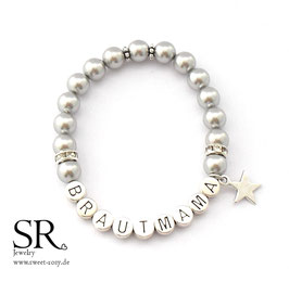 Armband Brautmama versilbert silber Stern