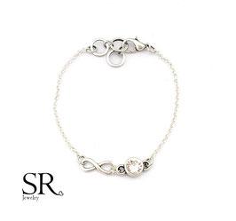 Armband Glaskristall + Infinity Zeichen