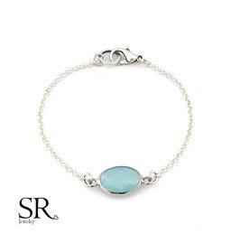 Armband Kristallglas oval versilbert türkis