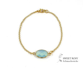 Armband Kristallglas oval vergoldet