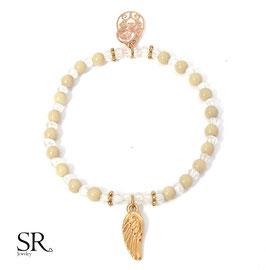 Armband elastisch rosévergoldet Engelsflügel weiß