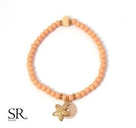 Armband elastisch rosévergoldet Seestern apricot