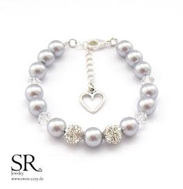 Perlenarmband Karabinerverschluss mit Herzanhänger