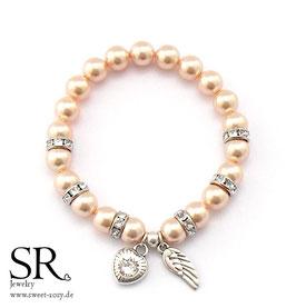 Perlenarmband versilbert apricot Glitzerherz weiß + Flügel
