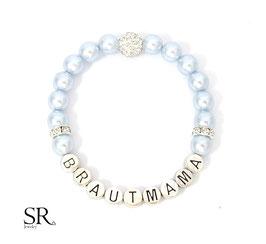 Armband Brautmama versilbert hellblau Glitzerperle