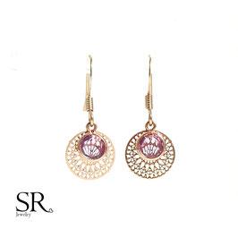 Ohrhänger rosévergoldet Kristallglas Boho Look lila