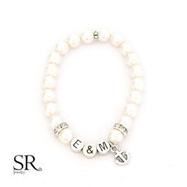 Armband Initialbuchstaben versilbert ivory Anker