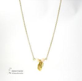 Kette vergoldet Blättertraum Wunschfarbe