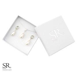 Schmuckset 925 Sterling Silber Tropfen Kette + Ohrringe