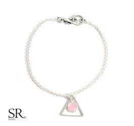 Armband versilbert Dreieck rosé opal