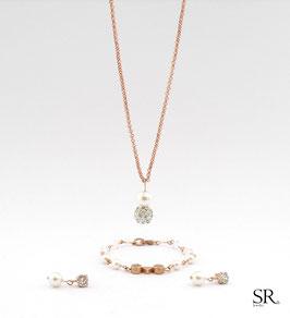Schmuckset 3-teilig Glitzerperle + Perle zart ivory rosévergoldet
