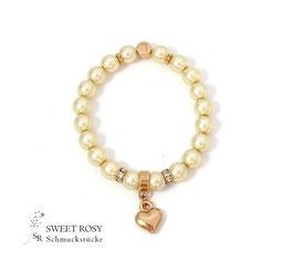 Braut Armband rosévergoldet gold Herzchen Initialbuchstabe