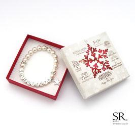Armband Patentante versilbert + Weihnachtsgeschenkbox