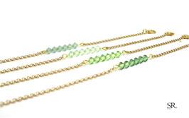 Armband Röhrchen vergoldet grün-Töne