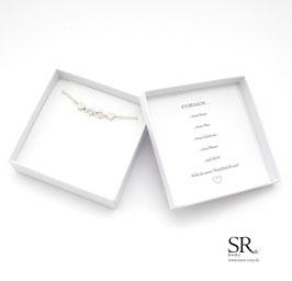 Filigranes Armband versilbert Infinity Zeichen + 2 Herzen