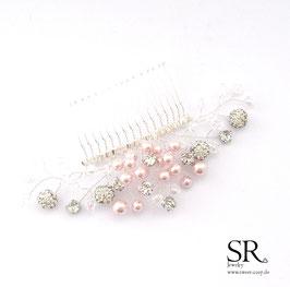Haarkamm rosé Perlen Strass und Glitzer