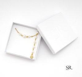 Kette + Rückenkette vergoldet Zartes Perlenspiel + Anker