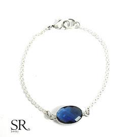 Armband Kristallglas oval versilbert nachtblau