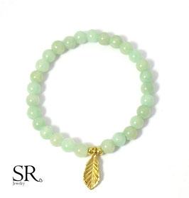 Armband vergoldet Natursteinperlen pastellgrün Blatt