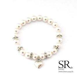 Perlenarmband Strassrondelle versilbert ivory Herz