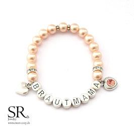 Armband Brautmama versilbert apricot Glitzerherz apricot + Herz