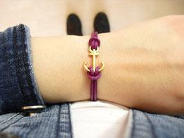 Armband Anker Leder vergoldet