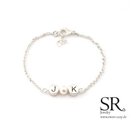 Armband Initialien + Perle versilbert WUNSCHFARBE