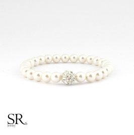 Armband elastisch zarte Perlen + Strassperle ivory