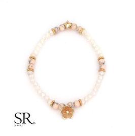 Armband elastisch rosévergoldet Blüte Stern rosa-rosé