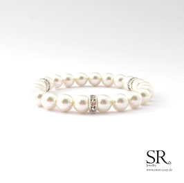 Perlenarmband edel 3 Strassrondelle ivory