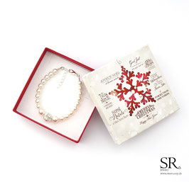 Perlenarmband Karabinerverschluss Strassperle zart + Weihnachtsgeschenkbox