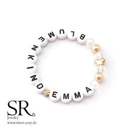 Blumenkind*NAME Armband rosévergoldet Schmetterling