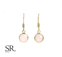 Boho Ohrringe vergoldet filigran Kristallglas rosé opal