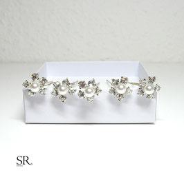 Haarnadel Strassblüte + Perle