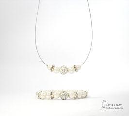 Schmuckset zarte Perlen Eleganz 3-teilig ivory