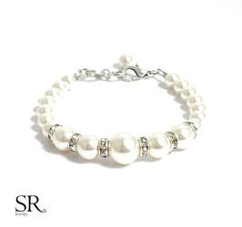 Armband Perlen Strassrondelle Karabinerverschluss