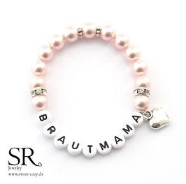 Armband Brautmama Kunststoff rosé Herz