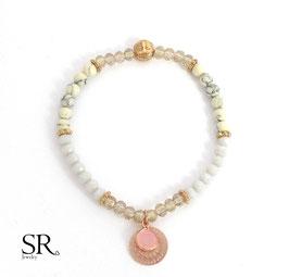 Armband rosévergoldet Buddha filigran graublau creme braun